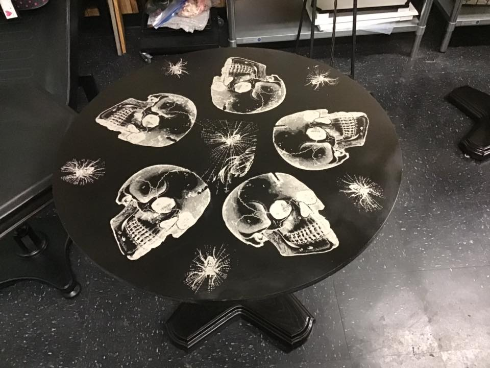 Halloween Chalk Couture Style victorian skulls chalked on a table