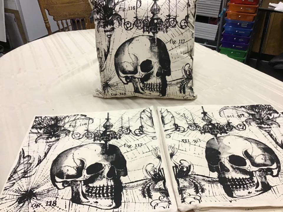 halloween chalk couture style - victorian skull  inked onto pillow covers