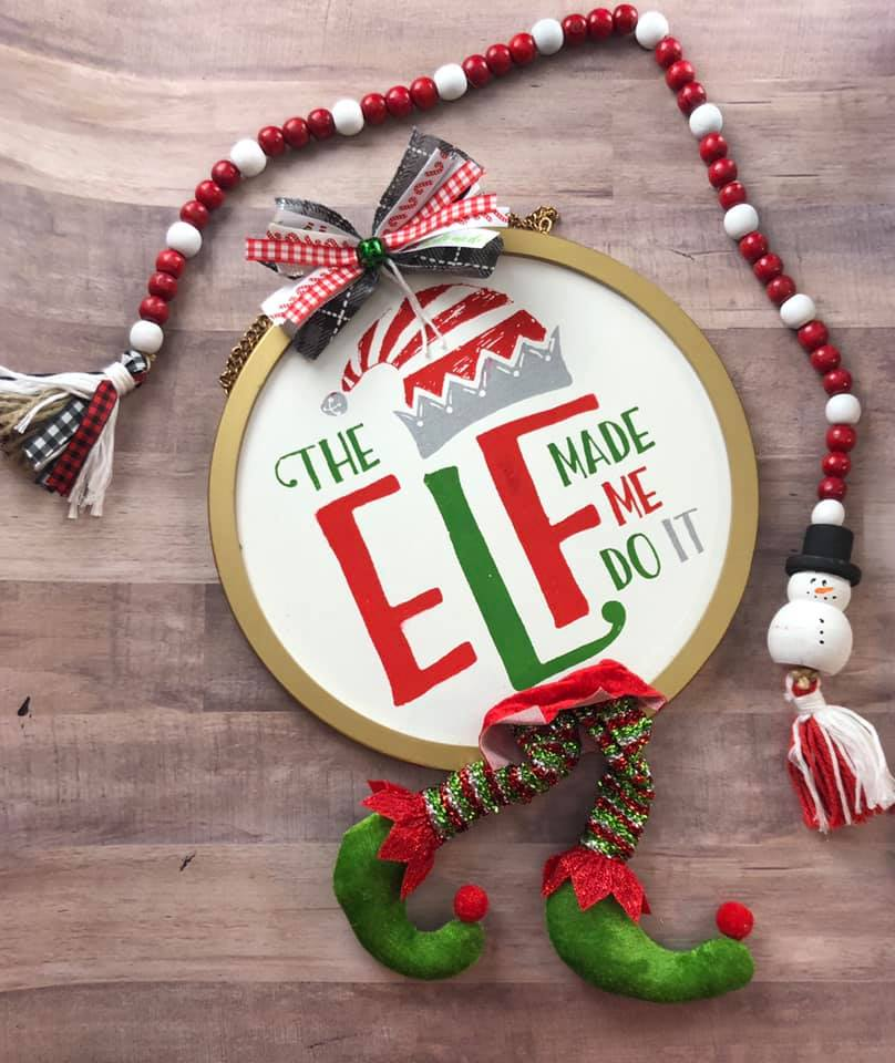 The Elf Made Me Do It - Circle Board - Chalk Couture - That Chalky Gal - Jana