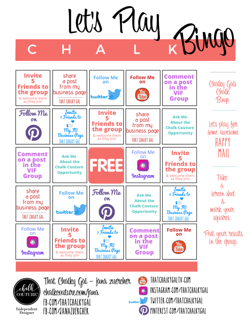 chalk bingo - chalky gals vif group- that chalky gal- chalk couture independent designer - talk chalky to me dot com