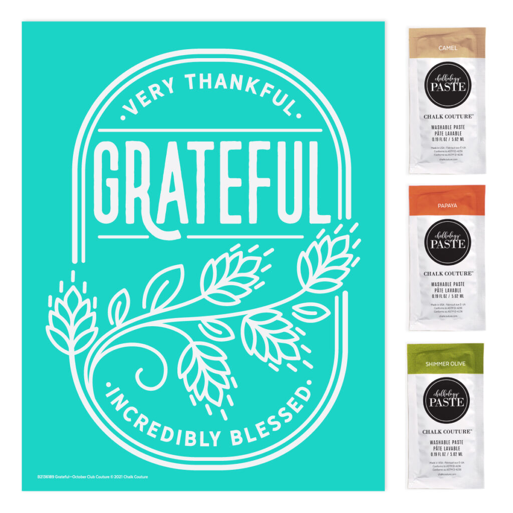 grateful transfer -october chalk couture monthly craft subscription - that chalky gal - monthly craft kit
